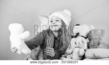 Child Small Girl Playful Hold Teddy Bear Plush Toy. Teddy Bears Help Children Handle Emotions And Li