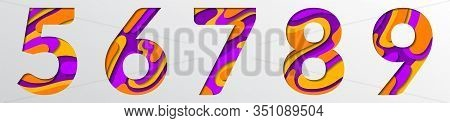 Paper Cut Numbers. Orange Violet 3d Multi Layers Papercut Effect Isolated Figures Of Alphabet Letter