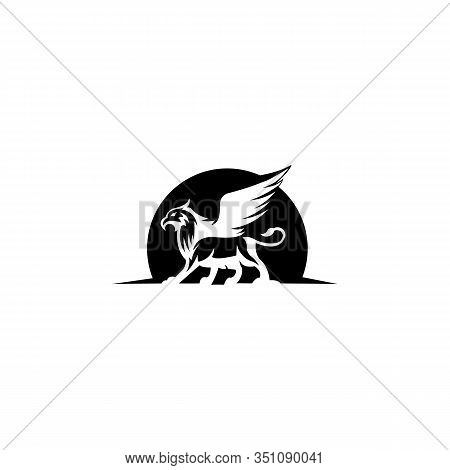 Mythical Creature Eagle-headed Lion Beast, Vector Creature With Body Lion And Eagle Head