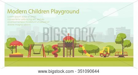Kids Playground In City Park Flat Illustration. Horizontal Banner Template With Place For Your Text.