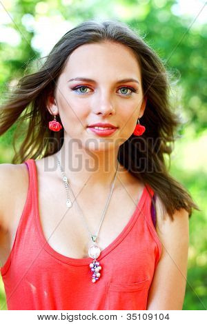 Pretty Caucasian Young Woman In Red Dress