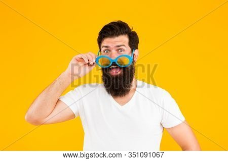 Handsome Guy Wear Sunglasses. Hipster Bearded Man In Trendy Sunglasses. Perfect Vision. Eyes Health.