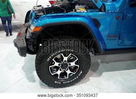 Philadelphia, Pennsylvania, U.s.a - February 9, 2020 - The Wheel Of The 2020 Jeep Wrangler Unlimited