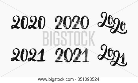 2021 Logo Set. Hand Sketched Numbers Of 2021. 2020 Set Of Inscriptions. New Year 2021 Lettering Set.