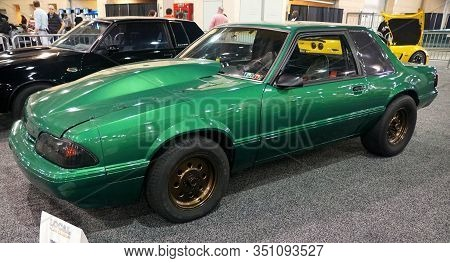 Philadelphia, Pennsylvania, U.s.a - February 9, 2020 - The 1986 Ford Mustang In Green Color