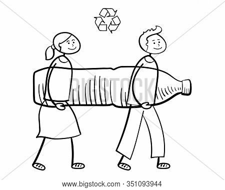 Cartoon People Carrying Big Plastic Bottle To Recycle. Waste Recycling, Waste Sorting, Re-use Of Mat