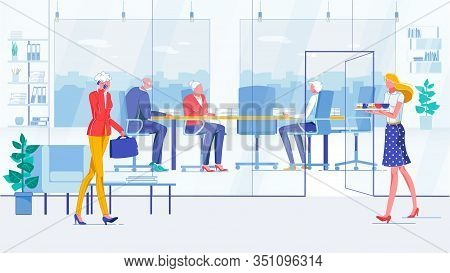 Conference Room In Trendy Glass Office. Three Employees At Negotiating Table With Piles Documents, D