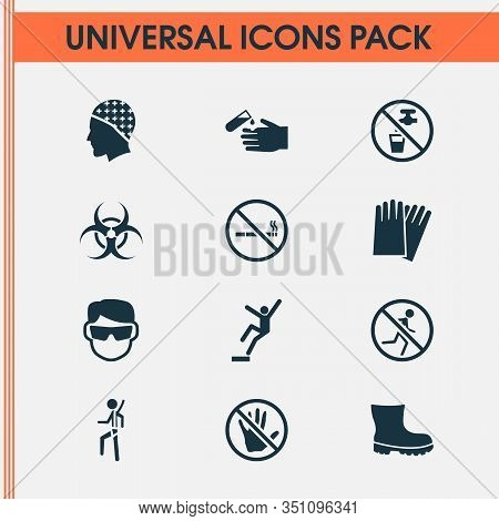 Protection Icons Set With Eyeglasses, Downfall, Corrosive Chemical And Other Nuclear Elements. Isola