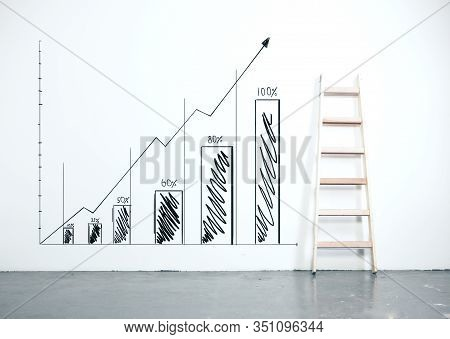 Drawing Stock Chart On Wall With Wooden Ladder. Success And Startup Concept.