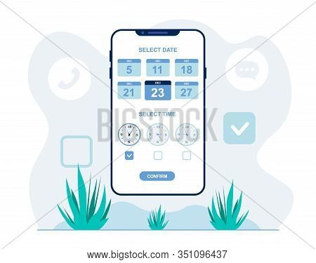 Selecting Meeting Time And Date Flat Illustration. Mobile App For Automated Scheduling Appointments.