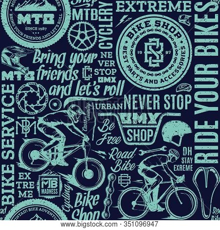 Retro Styled Vector Bicycle Theme Seamless Pattern Or Background