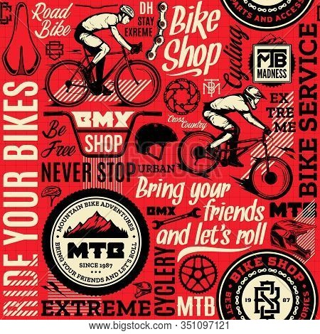 Vector Bicycle Theme Seamless Pattern Or Background