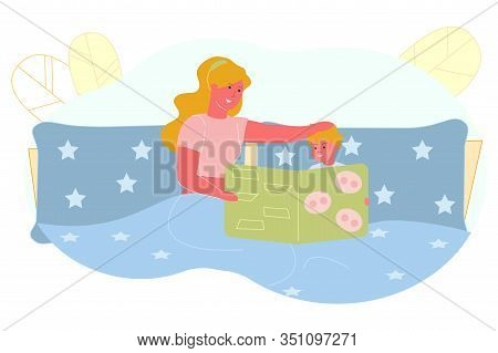 Mom Reads Bedtime Story To Her Son, Illustration. Woman Lies In Bed With Child And Holds Book With I
