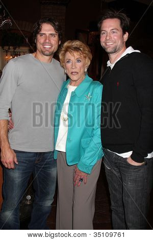 LOS ANGELES - MAR 24:  Joshua Morrow, Jeanne Cooper, Michael Muhney at the Young & Restless 38th Anniversary On Set Press Party at CBS Television City on March 24, 2011 in Los Angeles, CA