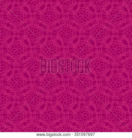 Lace Field-flowers In Bloom Seamless Repeat Pattern. Lace Flowers Background In Pink And Maroon. Per