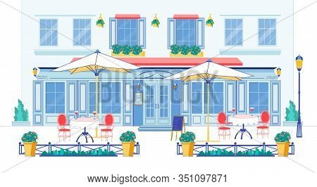 Flat Banner Luxurious Restaurant Exterior, Slide. Entrance To Restaurant, In Courtyard Are Tables Wi