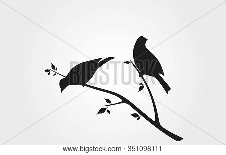 Birds On Branch With Leaves Black Silhouette. Spring Nature Design Element. Isolated Vector Wildlife