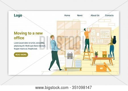 Moving To New Office Landing Page Vector Template. Estate Agency Website Page Concept With Cartoon C