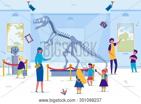 Guide Pointing To Dinosaur Skeleton, Explaining Peculiarities Mesozoic Era To Elementary School Clas