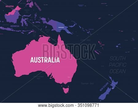 Australia And Oceania Map. High Detailed Political Map Of Australian And Pacific Region With Country