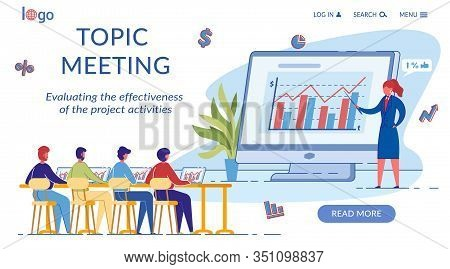 Topic Meeting Landing Page Flat Vector Template. Sales Conversion, Annual Report Presentation Web Ba