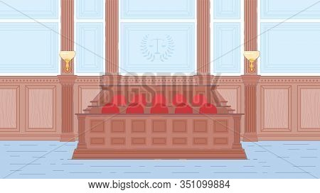 Wooden Jury Box In Court House Hall Interior. Court Room. Judge Session, Evidence Provision, Litigat
