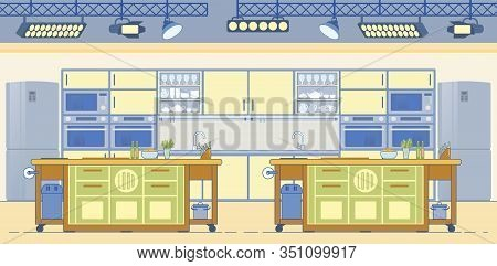 Tv Culinary Show Studio With Professional Equipped Kitchens. Two Cooks Culinary Battle And Cuisine A