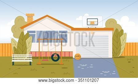 Modern Suburb House Exterior With Garage. Backyard With Playground For Kids Active Rest On Green Law