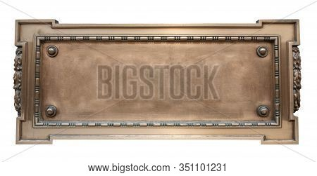Isolated Vintage Ornate Gold Colored Plaque, Blank For Your Text