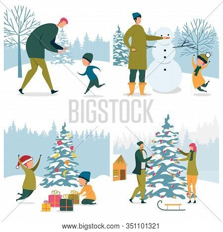 Set Family Winter Activities On Snowy Outdoors. Dad Playing With Son. Man And Boy Making Snowman. Tw