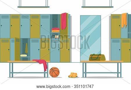 Gym Locker Room With All Modern Conveniences Necessary To Meet Schoolchildren Needs. High School Gym