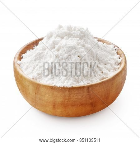 Gluten Free Flour. Wooden Bowl Of Rice Or Wheat Flour Isolated On White Background.