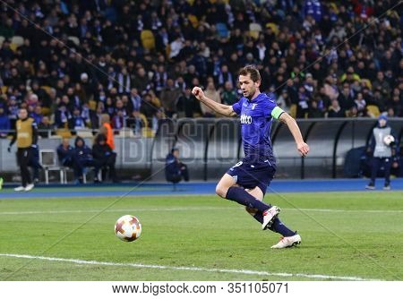 Kyiv, Ukraine - March 15, 2018: Senad Lulic Of Ss Lazio In Action During Uefa Europa League Round Of