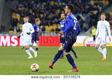Kyiv, Ukraine - March 15, 2018: Luis Felipe Of Ss Lazio In Action During Uefa Europa League Round Of
