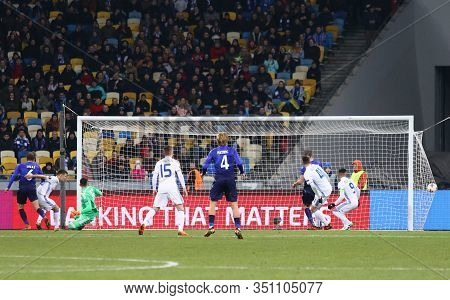Kyiv, Ukraine - March 15, 2018: Lucas Of Ss Lazio (1st From L) Scores A Goal During Uefa Europa Leag