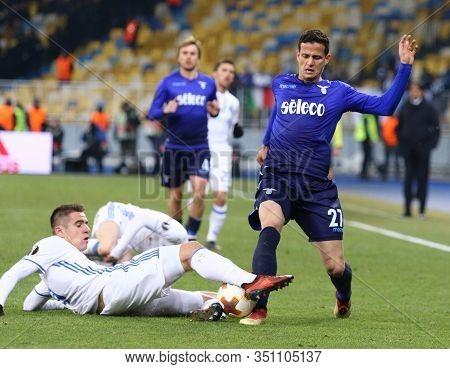 Kyiv, Ukraine - March 15, 2018: Artem Besedin Of Dynamo Kyiv (l) Fights For A Ball With Luis Felipe