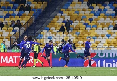 Kyiv, Ukraine - March 15, 2018: Ss Lazio Players Celebrate After Scored A Goal During Uefa Europa Le