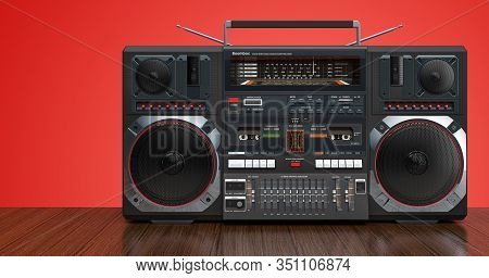 Modern Boombox On Wooden Background. 3d Rendering