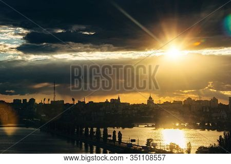 Evening Voronezh. Clouds, Sunset, Chernavsky Bridge, Voronezh Water Reservoir, Aerial View