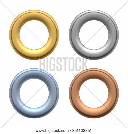 Round Grommets. Rounded Metallic Eyelets For Holes In Labels And Fabric, Metalic Clothes Grommet Com
