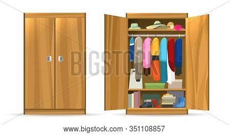 Open Closets Cupboard Wardrobe. Closet With Opening Doors, Clothing And Shoes, Hats And Boxes. Woode