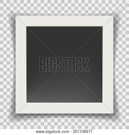 Retro Photo Frame. Square Photography Picture Frames Vector Illustration, Black And White Memory Old