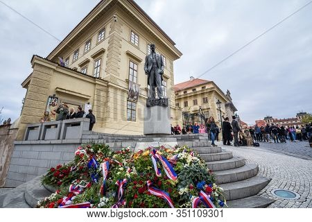 Prague - Czechia - November 2, 2019: Tomas Garrigue Masaryk Statue On Hradcany Square In Prague. Mas