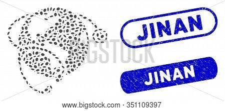 Mosaic Global Healthcare Stethoscope And Grunge Stamp Seals With Jinan Caption. Mosaic Vector Global