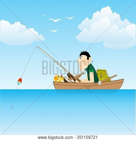 Sea And Fisherman In Boat Goes Fishing