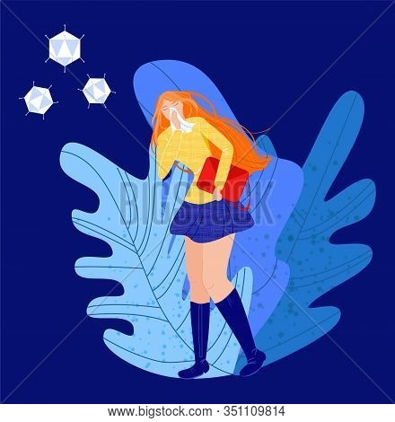 Vector Flat Illustration Young Woman With Acute Respiratory Infection. She Has Runny Nose, Holds Han