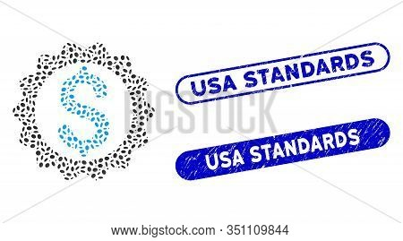 Mosaic Financial Seal And Distressed Stamp Seals With Usa Standards Phrase. Mosaic Vector Financial