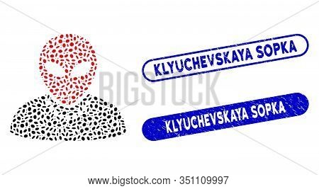 Mosaic Humanoid And Distressed Stamp Seals With Klyuchevskaya Sopka Text. Mosaic Vector Humanoid Is