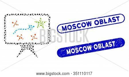 Mosaic Strategy And Corroded Stamp Watermarks With Moscow Oblast Text. Mosaic Vector Strategy Is Com