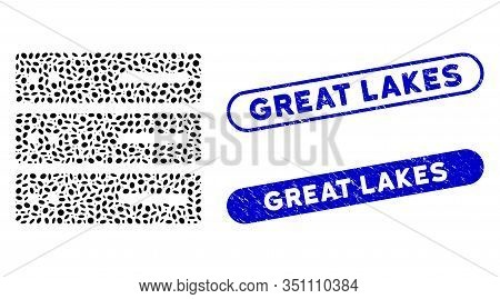 Mosaic Data Storage And Rubber Stamp Seals With Great Lakes Caption. Mosaic Vector Data Storage Is D